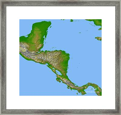 Topographic View Of Central America Framed Print by Stocktrek Images