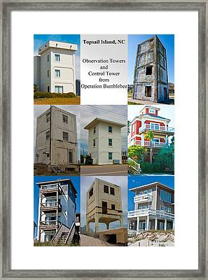 Topsail Island Towers Framed Print by Betsy Knapp