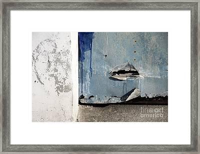 Framed Print featuring the photograph Torn Metal Shutter by Agnieszka Kubica