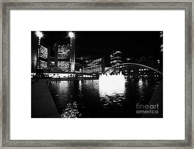 Toronto City Hall Building And Reflecting Pool In Nathan Phillips Square At Night Framed Print by Joe Fox