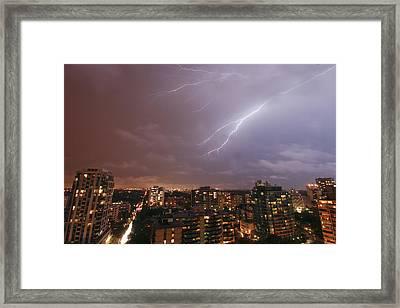 Toronto Lighting Framed Print by Roozbeh Rokni