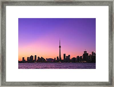 Toronto Purple Skyline Framed Print by Aqnus Febriyant