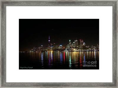 Toronto Skyline At Night Framed Print by Lingfai Leung