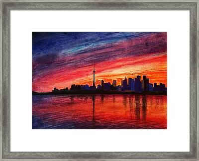 Toronto Skyline Framed Print by Fariz Kovalchuk