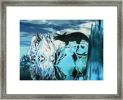 Torosaurus Dinosaur In An Icy Landscape Framed Print by Victor Habbick Visions