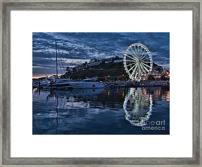 Torquay Marina And The Big Wheel Framed Print by Ann Garrett