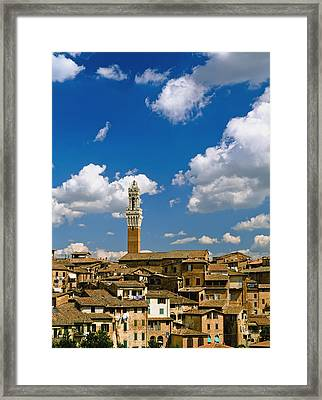 Torre De Mangia And Siena Skyline Framed Print by Axiom Photographic