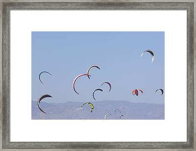Torremolinos, Spain  Kite Surfing Framed Print by Ken Welsh
