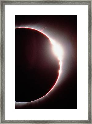 Total Solar Eclipse, Showing A Solar Flare Framed Print by Dr Fred Espenak