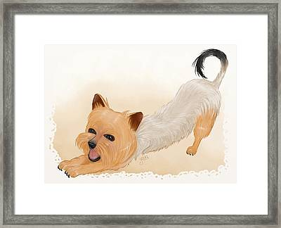 Totchi Stretching Framed Print by Joana Silva