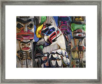 Totem Poles In The Pacific Northwest Framed Print