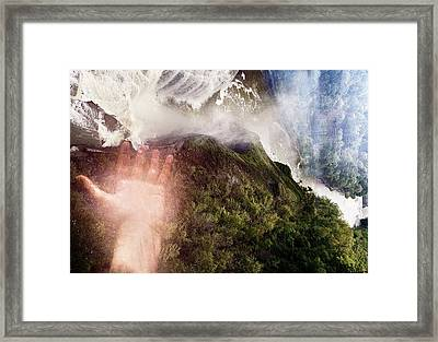 Touching The Falls Framed Print by Sara Roger