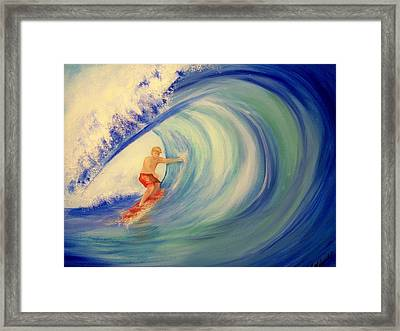 Touching The Wave Framed Print by Lynda McDonald
