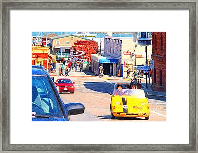 Touring San Fracisco Fishermans Wharf In An Electric Gocar . 7d14100 Framed Print