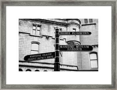 Tourist Information Signs Directions Street Aberdeen Scotland Uk Framed Print