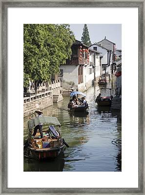Tourists Cruising Town's Ancient Waterways, Zhouzhuang, Jiangsu, China, North-east Asia Framed Print by Greg Elms