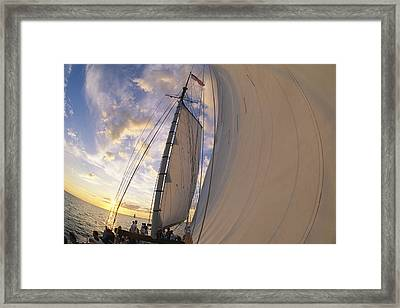 Tourists Enjoy Sailing On A Schooner Framed Print by Michael Melford