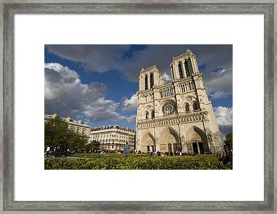 Tourists Gathered Outside The Notre Framed Print by Richard Nowitz