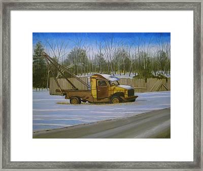 Tow Truck On Burgoyne Ave. Framed Print by Mark Haley