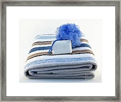 Towel With Soap And Sponge Framed Print