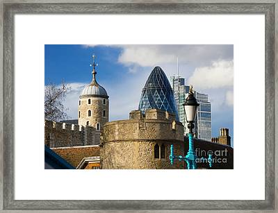 Tower And Gherkin Framed Print by Donald Davis