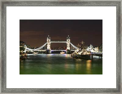 Tower Bridge And Hms Belfast At Night Framed Print