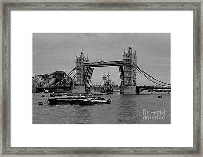 Tower Bridge And The Endeavor Framed Print by Aldo Cervato