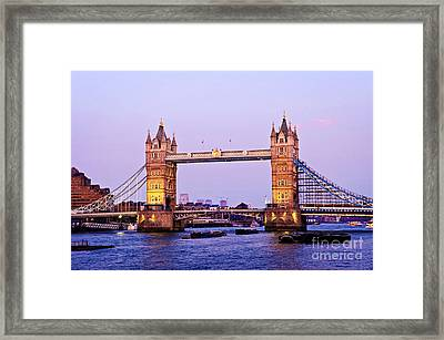 Tower Bridge In London At Dusk Framed Print