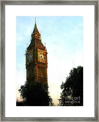 Tower Clock Framed Print by Susan Holsan