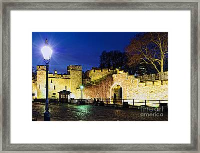 Tower Of London Walls At Night Framed Print by Elena Elisseeva