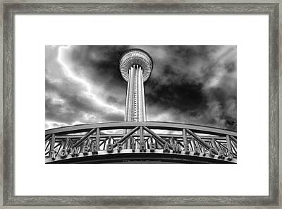 Tower Of The Americas San Antonio In Chrome Framed Print
