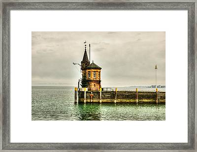 Tower On Lake Framed Print by Syed Aqueel