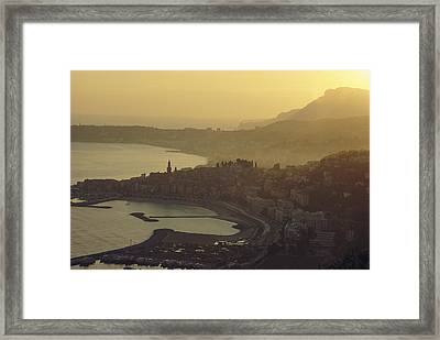 Town Of Menton, France Framed Print by George F. Mobley