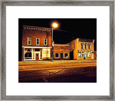 Town Street At Night Framed Print