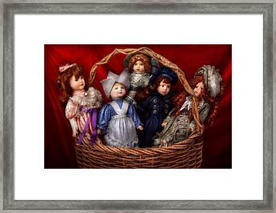 Toy - Dolls - A Basket Of Victorian Dolls  Framed Print by Mike Savad