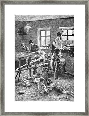 Toy Manufacturing, 19th Century Framed Print by