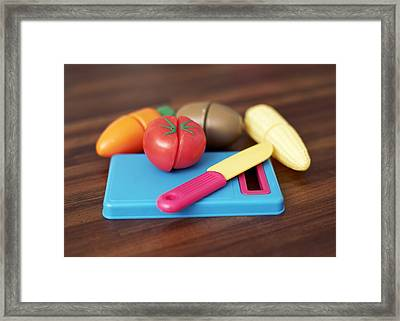 Toy Vegetable Chopping Board Framed Print by Ian Boddy