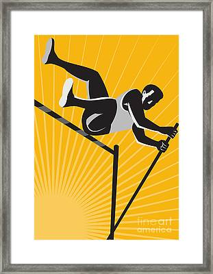 Track And Field Athlete Pole Vault High Jump Retro Framed Print by Aloysius Patrimonio