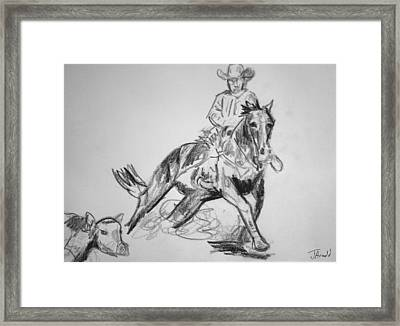 Tracking The Cow Framed Print
