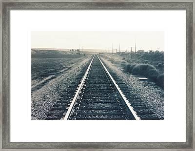 Tracks Bw Framed Print by Trent Mallett