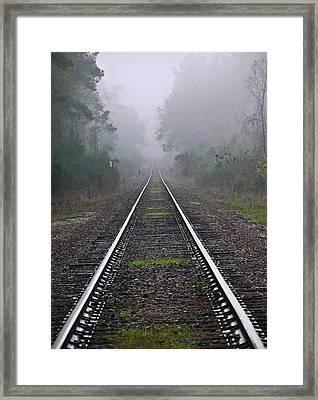 Tracks In Fog Framed Print