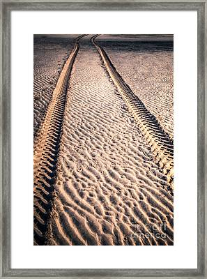 Tracks In The Sand Framed Print by Adrian Evans