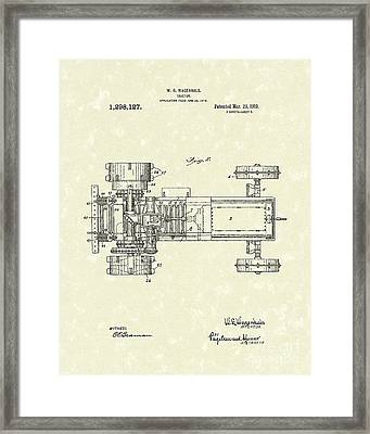 Tractor 1919 Patent Art Framed Print by Prior Art Design