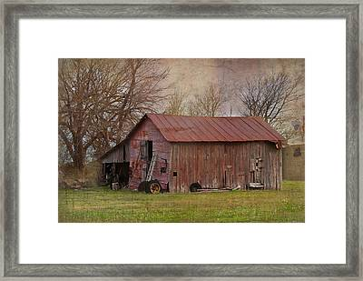 Tractor Barn Framed Print by Lisa Moore