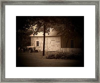 Tractor Picket Fence Framed Print by Michael L Kimble