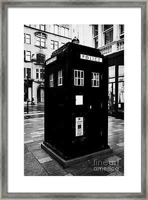 traditional blue police callbox in merchant city glasgow Scotland UK Framed Print by Joe Fox