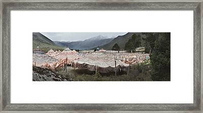 Traditional Buddhist Prayer Flags Framed Print by Phil Borges
