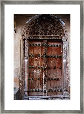 Traditional Carved Door Framed Print by Aidan Moran