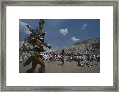 Traditional Dancing At The Pyramid Framed Print by Kenneth Garrett