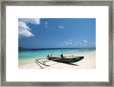 Traditional Fishing Boat, Timor -leste Framed Print by Louise Murray